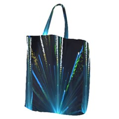 Seamless Colorful Blue Light Fireworks Sky Black Ultra Giant Grocery Zipper Tote