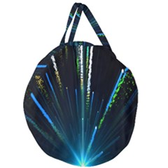 Seamless Colorful Blue Light Fireworks Sky Black Ultra Giant Round Zipper Tote
