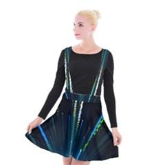 Seamless Colorful Blue Light Fireworks Sky Black Ultra Suspender Skater Skirt