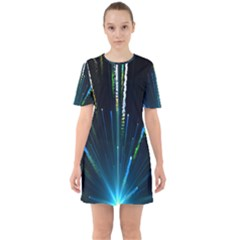 Seamless Colorful Blue Light Fireworks Sky Black Ultra Sixties Short Sleeve Mini Dress