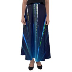 Seamless Colorful Blue Light Fireworks Sky Black Ultra Flared Maxi Skirt