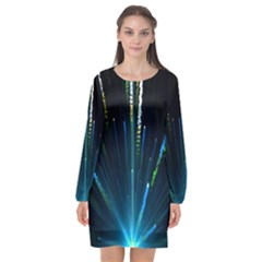 Seamless Colorful Blue Light Fireworks Sky Black Ultra Long Sleeve Chiffon Shift Dress