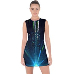 Seamless Colorful Blue Light Fireworks Sky Black Ultra Lace Up Front Bodycon Dress
