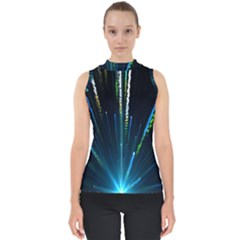 Seamless Colorful Blue Light Fireworks Sky Black Ultra Shell Top