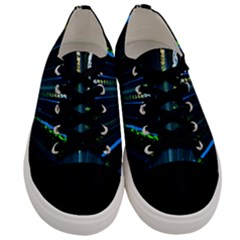 Seamless Colorful Blue Light Fireworks Sky Black Ultra Men s Low Top Canvas Sneakers
