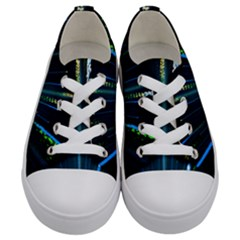 Seamless Colorful Blue Light Fireworks Sky Black Ultra Kids  Low Top Canvas Sneakers