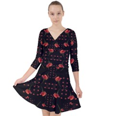 Roses From The Fantasy Garden Quarter Sleeve Front Wrap Dress