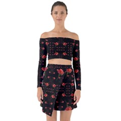 Roses From The Fantasy Garden Off Shoulder Top With Skirt Set