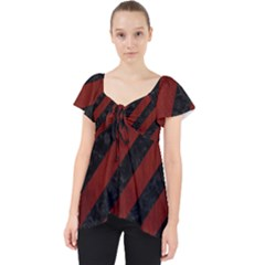 Stripes3 Black Marble & Reddish Brown Wood (r) Lace Front Dolly Top