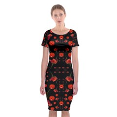 Pumkins And Roses From The Fantasy Garden Classic Short Sleeve Midi Dress