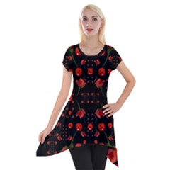 Pumkins And Roses From The Fantasy Garden Short Sleeve Side Drop Tunic