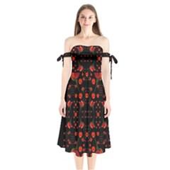Pumkins And Roses From The Fantasy Garden Shoulder Tie Bardot Midi Dress