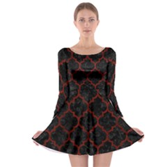 Tile1 Black Marble & Reddish Brown Wood (r) Long Sleeve Skater Dress