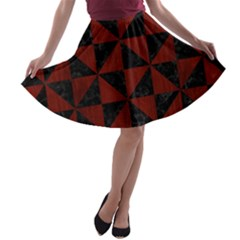 Triangle1 Black Marble & Reddish Brown Wood A Line Skater Skirt