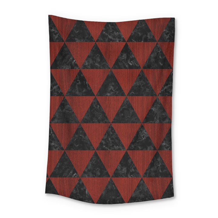 TRIANGLE3 BLACK MARBLE & REDDISH-BROWN WOOD Small Tapestry