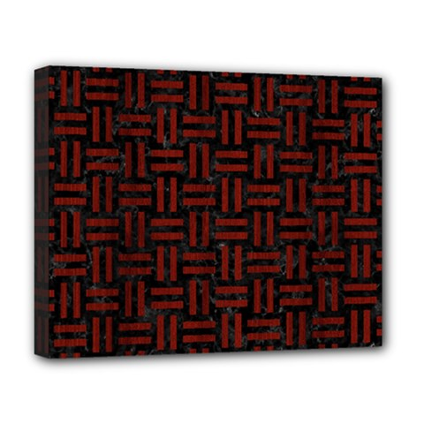 Woven1 Black Marble & Reddish Brown Wood (r) Deluxe Canvas 20  X 16