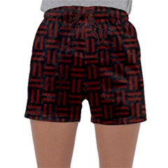 Woven1 Black Marble & Reddish Brown Wood (r) Sleepwear Shorts