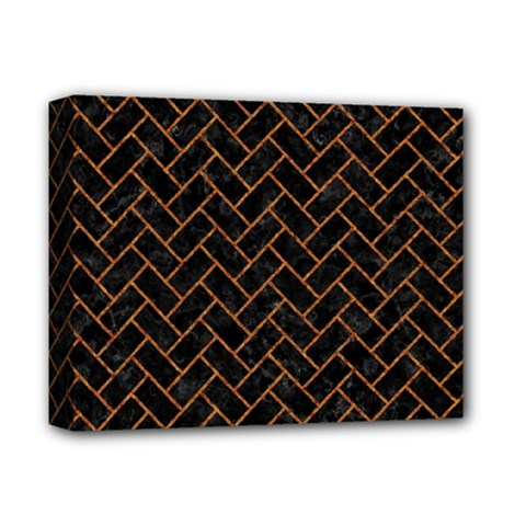 Brick2 Black Marble & Rusted Metal (r) Deluxe Canvas 14  X 11