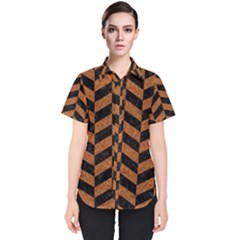Chevron1 Black Marble & Rusted Metal Women s Short Sleeve Shirt
