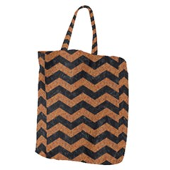 Chevron3 Black Marble & Rusted Metal Giant Grocery Zipper Tote