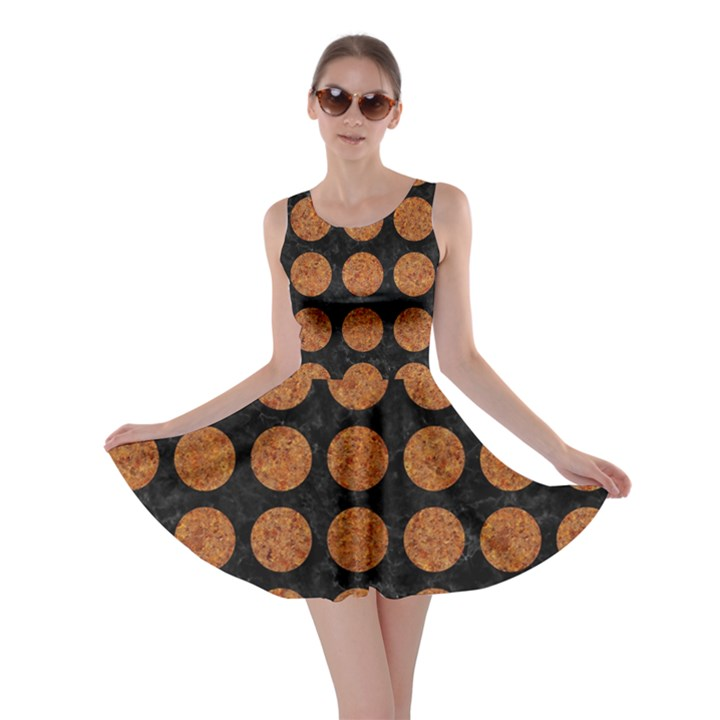 CIRCLES1 BLACK MARBLE & RUSTED METAL (R) Skater Dress