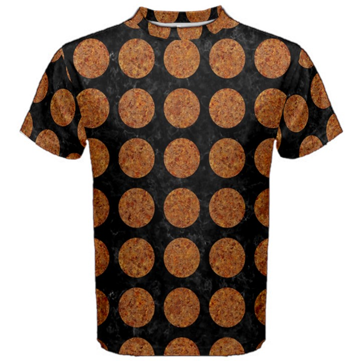 CIRCLES1 BLACK MARBLE & RUSTED METAL (R) Men s Cotton Tee