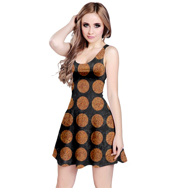 CIRCLES1 BLACK MARBLE & RUSTED METAL (R) Reversible Sleeveless Dress