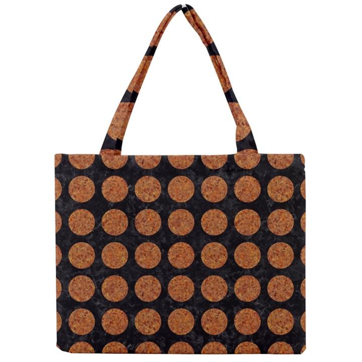 CIRCLES1 BLACK MARBLE & RUSTED METAL (R) Mini Tote Bag
