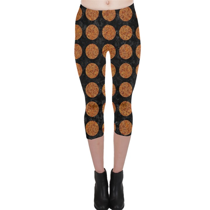 CIRCLES1 BLACK MARBLE & RUSTED METAL (R) Capri Leggings