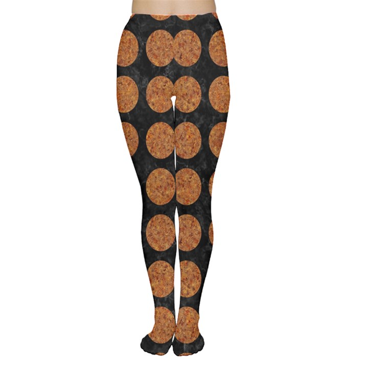 CIRCLES1 BLACK MARBLE & RUSTED METAL (R) Women s Tights