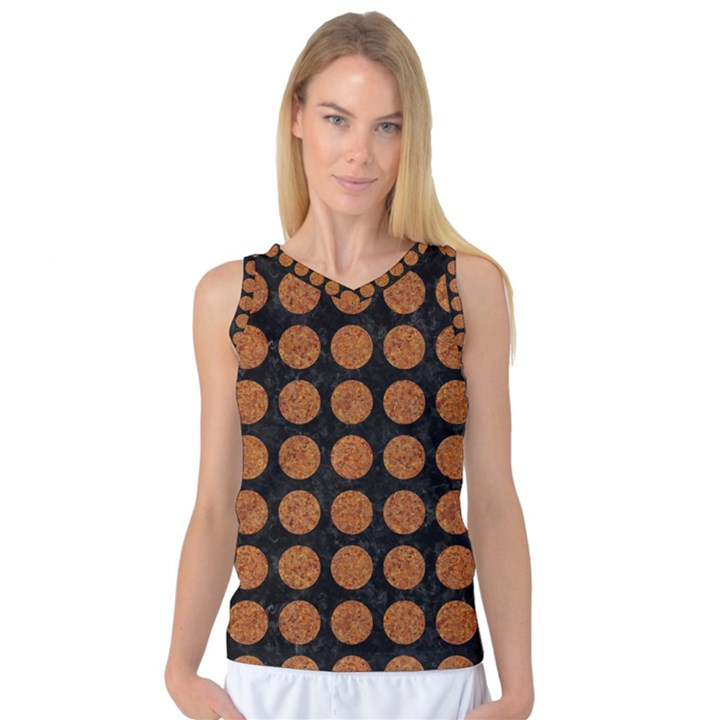 CIRCLES1 BLACK MARBLE & RUSTED METAL (R) Women s Basketball Tank Top