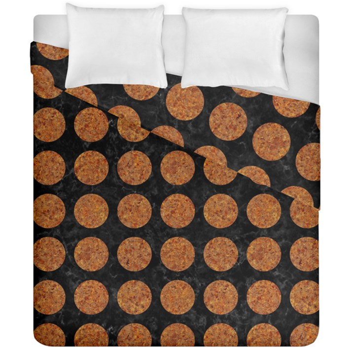 CIRCLES1 BLACK MARBLE & RUSTED METAL (R) Duvet Cover Double Side (California King Size)