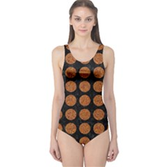 Circles1 Black Marble & Rusted Metal (r) One Piece Swimsuit