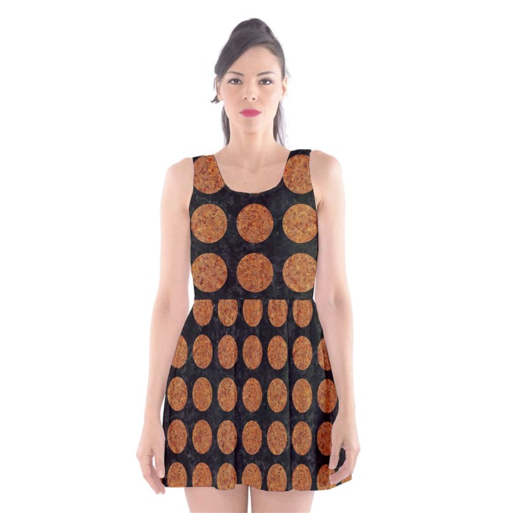 CIRCLES1 BLACK MARBLE & RUSTED METAL (R) Scoop Neck Skater Dress