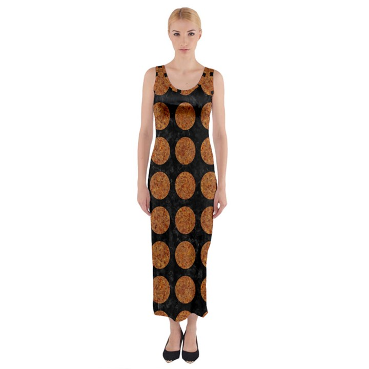 CIRCLES1 BLACK MARBLE & RUSTED METAL (R) Fitted Maxi Dress