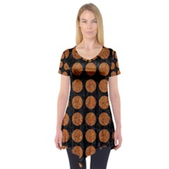 Circles1 Black Marble & Rusted Metal (r) Short Sleeve Tunic