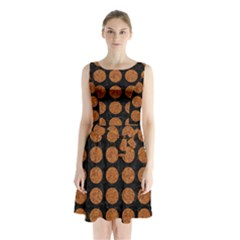 Circles1 Black Marble & Rusted Metal (r) Sleeveless Waist Tie Chiffon Dress