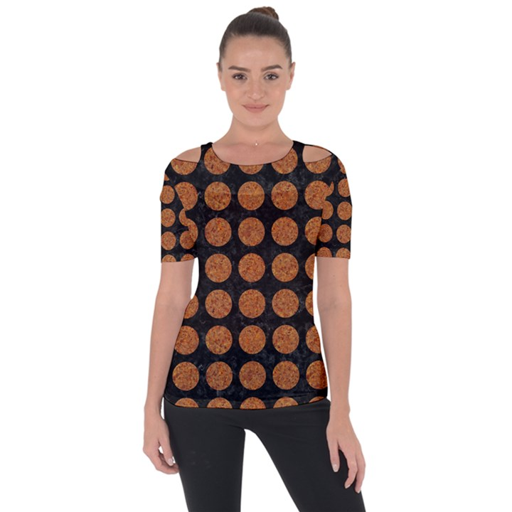 CIRCLES1 BLACK MARBLE & RUSTED METAL (R) Short Sleeve Top