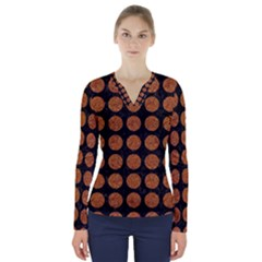 Circles1 Black Marble & Rusted Metal (r) V Neck Long Sleeve Top