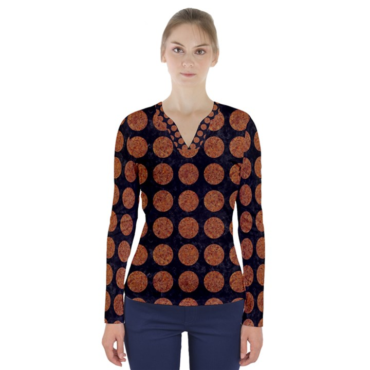 CIRCLES1 BLACK MARBLE & RUSTED METAL (R) V-Neck Long Sleeve Top