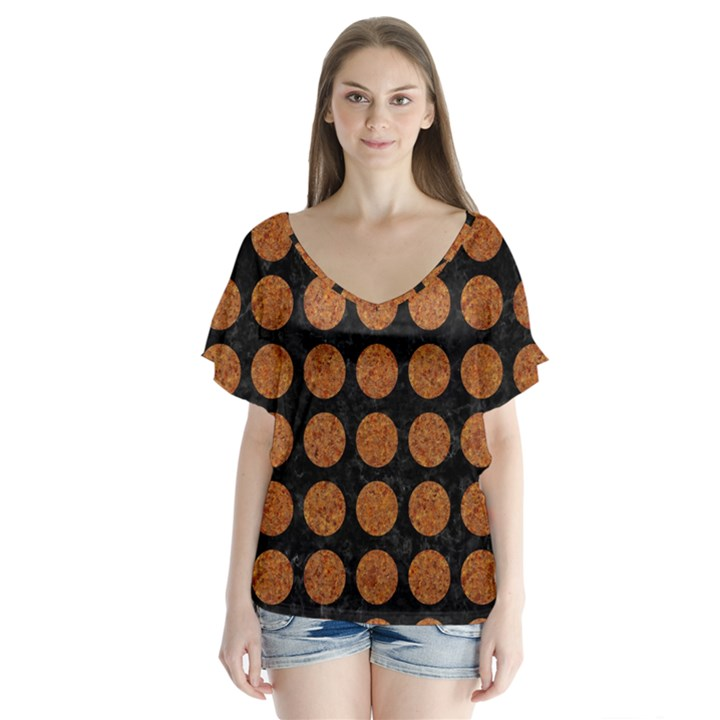CIRCLES1 BLACK MARBLE & RUSTED METAL (R) V-Neck Flutter Sleeve Top