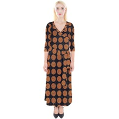 Circles1 Black Marble & Rusted Metal (r) Quarter Sleeve Wrap Maxi Dress