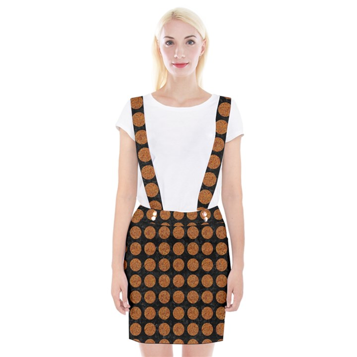 CIRCLES1 BLACK MARBLE & RUSTED METAL (R) Braces Suspender Skirt