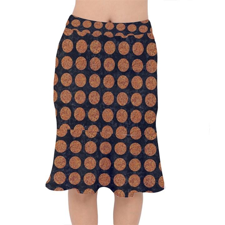 CIRCLES1 BLACK MARBLE & RUSTED METAL (R) Mermaid Skirt