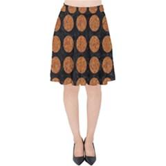 Circles1 Black Marble & Rusted Metal (r) Velvet High Waist Skirt