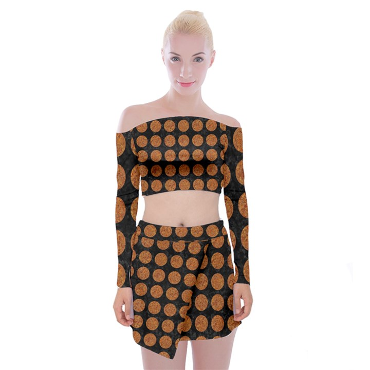CIRCLES1 BLACK MARBLE & RUSTED METAL (R) Off Shoulder Top with Mini Skirt Set