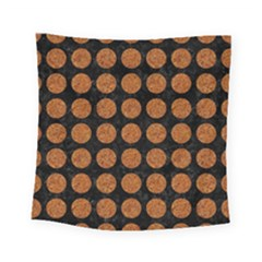 Circles1 Black Marble & Rusted Metal (r) Square Tapestry (small)