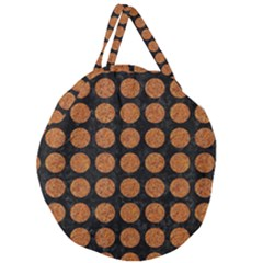 Circles1 Black Marble & Rusted Metal (r) Giant Round Zipper Tote