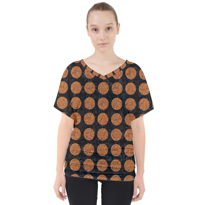 CIRCLES1 BLACK MARBLE & RUSTED METAL (R) V-Neck Dolman Drape Top