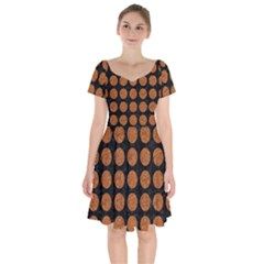 Circles1 Black Marble & Rusted Metal (r) Short Sleeve Bardot Dress